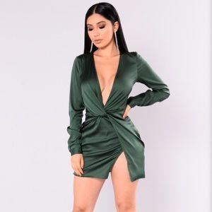 Fashion nova's sugar free dress in dark green.